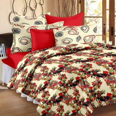 Storyathome 100% Cotton Double Bedsheet With 2 Pillow Cover-VL1206