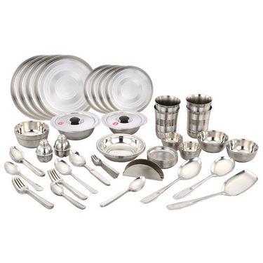 Klassic Vimal 80 Pcs Stainless Steel Dinner Set - Silver