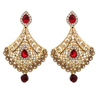 Vendee Fashion Adorn Metal Earrings - Golden & Red - 8395