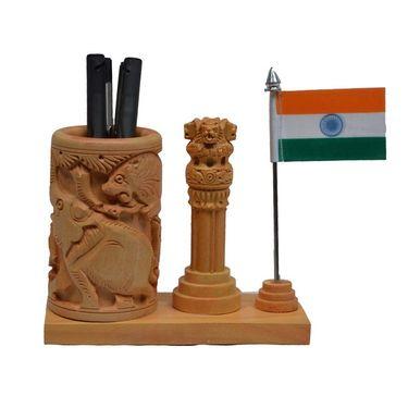 eCraftIndia Wooden Pen Stand with Ashoka Pillar and National Flag-WIDPS101