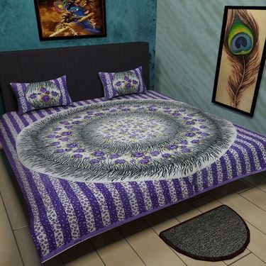 Manukunj Double Bedsheet With 2 Pillow Covers-WORLD13