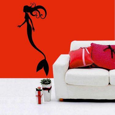 Black Fish Girl Decorative Wall Sticker-WS-08-179