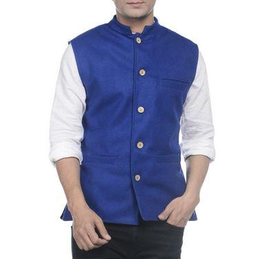 Sobre Estilo Woolen Nehru Jacket For Men_WV0013266 - Blue