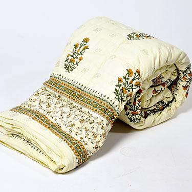 Little India Designer Printed Cotton Double Quilt - White