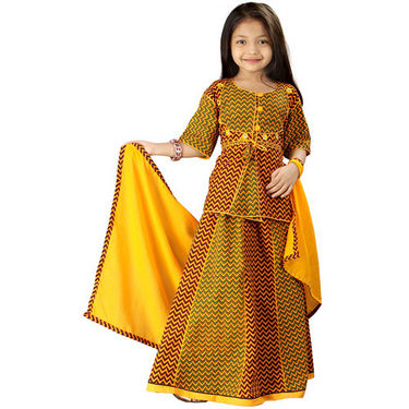 Little India Yellow Rajasthani Zigzag Design Lehanga Choli