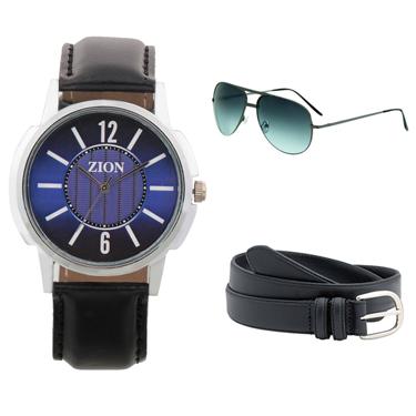 Combo of Zion Fashion 1 Wrist Watch + 1 Sunglasses + 1 Belt_ZW 428