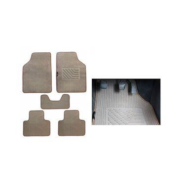 AutoStark Universal Car Foot Mats Carpet (Set Of 5) - Beige