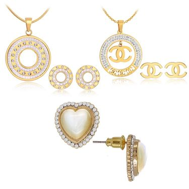 Spargz 2 Stylish Studded Pendant Set With 1 Pearl Earring_Cb389