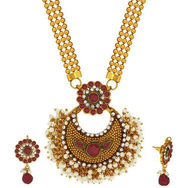 Spargz Designer Studded Necklace Set With Gold Finish Net Kada & Ring_Cb425