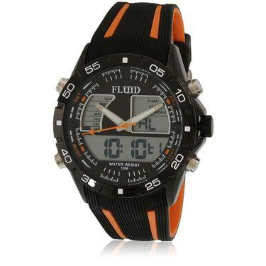 Fluid Analog & Digital Round Dial Watch For Unisex_d05or01 - Black & Orange