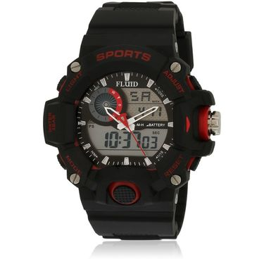 Fluid Analog & Digital Round Dial Watch For Unisex_d06rd01 - Black & Red