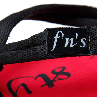 Foot n Style Fabric Slippers  FS128 - Black & Red