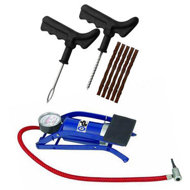 Mini Air Foot Pump + Puncture Repair Kit for Tubeless Tyre
