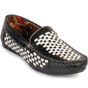 Foot n Style Leather Loafers FS 3001 -Black & White