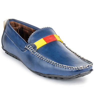 Foot n Style Leather Blue Loafers Shoes -fs3007