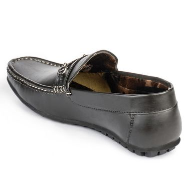 Foot n Style Leather Black Loafers Shoes -fs3011