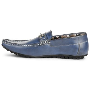 Foot n Style Leather Blue Loafers Shoes -fs3012