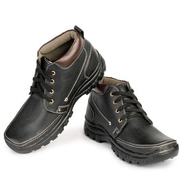 Foot n Style Nubuck Leather Black Casual Shoes -fs3043