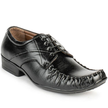 Foot n Style Leather Black Formal Shoes -fs3046
