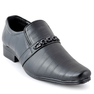 Foot n Style Cordovan Leather Formal Shoes FS 348 -Black