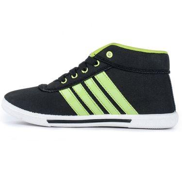 Foot n Style Canvas Black & Green Sneaker Shoes -fs395