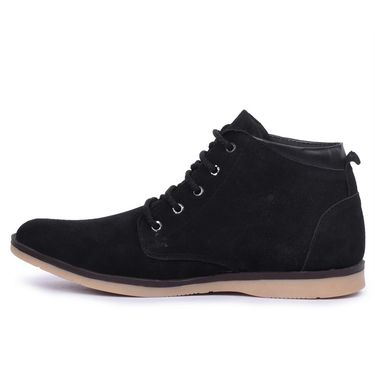 Foot n Style Suede Leather Black Boots -Fs4000