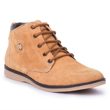 Foot n Style Suede Leather Tan Boots -Fs4001