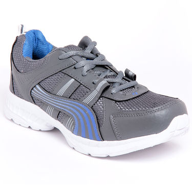 Foot n Style Synthetic Leather Sports Shoes FS 447 -Grey & Blue