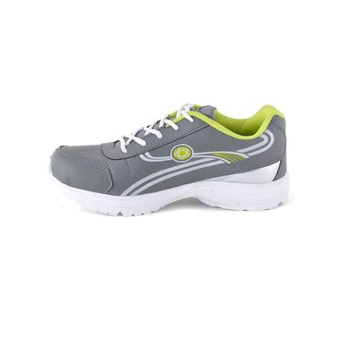 Foot n Style Synthetic Leather Sports Shoes FS 493 -Grey & Yellow