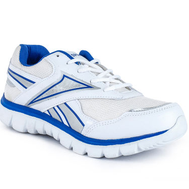 Foot n Style Synthetic Leather Sports Shoes FS 517 -White & Blue
