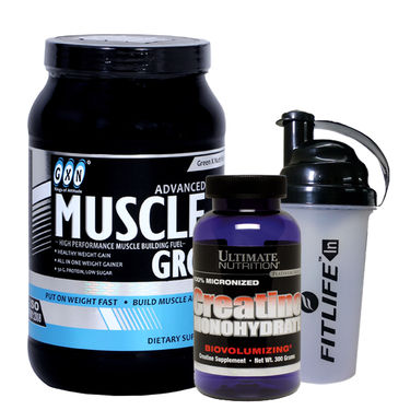 Gxn Advance Muscle Grow, 2 Lb ( 907Grms ) Butter Scotch + Ultimate Nutrition Creatine Monohydrate 300g