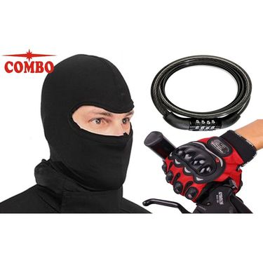 Combo of Pro-Biker Gloves & Balaclava Mask with Multi-Purpose Cable Number Lock