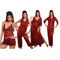 Ishin Satin 6 Piece Nightwear (Red) - SULDR 14576 B