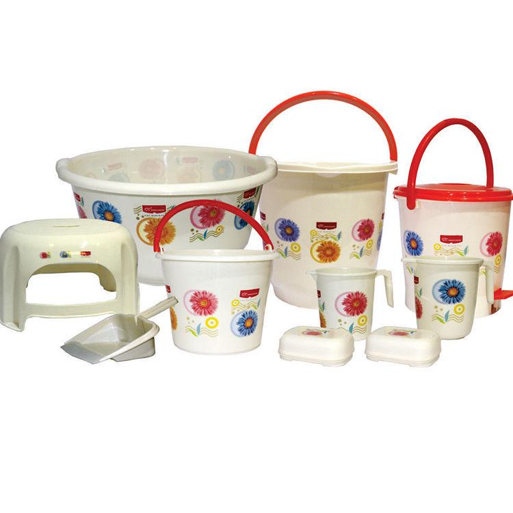 Buy princeware 10 pcs charming deluxe bathroom set online for Naaptol kitchen queen set
