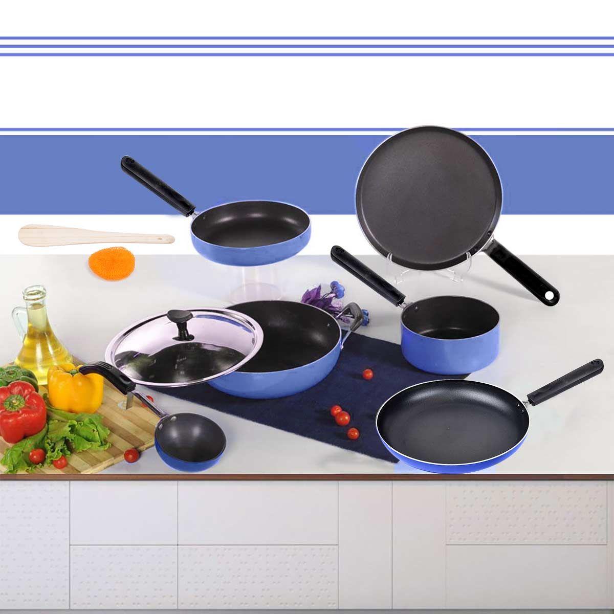 Buy brilliant 7pcs induction friendly non stick cookware for Kitchen set bartan