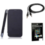 Combo of Camphor Flip Cover (Black) + Screen Guard + Aux Cable for Sony Xperia L