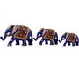 GRJ India Set of 3 Metal Elephant Showpiece Figurine With Meena Art