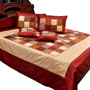 Little India Double Bedcover with 2 Cushion Cover and 2 Pillow Cover - Maroon & Beige