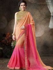 Nanda Silk Mills Stylish Fancy Pure Chiffon & Georgette Saree Pink Color Ethnic Party Wear Saree_Vr-1901