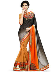 Nanda Silk Mills Multicolor Georgette Embroidered Saree With Blouse Piece_Enigma-4801