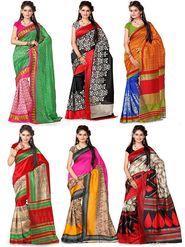 Pack of 6 Printed Artsilk Saree-ad35