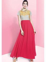 Viva N Diva Embroidered Faux Georgette Semi Stitched Salwar Suit -11089-Blush-06