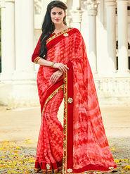 Indian Women Printed Georgette Pink & Red Designer Saree -Ic11328