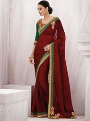Bahubali Georgette Embroidered Saree - Wine_GA.50107