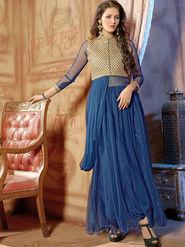 Viva N Diva Net  Embroidered Salwar Suit - Blue_Vedant-1004