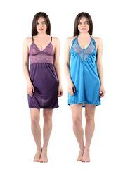 Pack of 2 American-Elm Women Satin Nighty - AENTY-0727