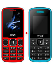 Combo of Trio Dual SIM Feature Phone (T4 Star - Blue + T3 Star - Black Red)