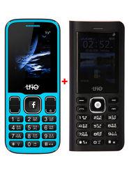 Combo of Trio ( T5000 Powerbank cum Feature Phone - Black + T3 Star - Blue )