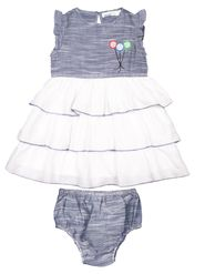 ShopperTree Solid Grey Cotton Frock -ST-1630_6-12M