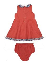 ShopperTree Solid Orange Cotton Frock -ST-1635_6-12M